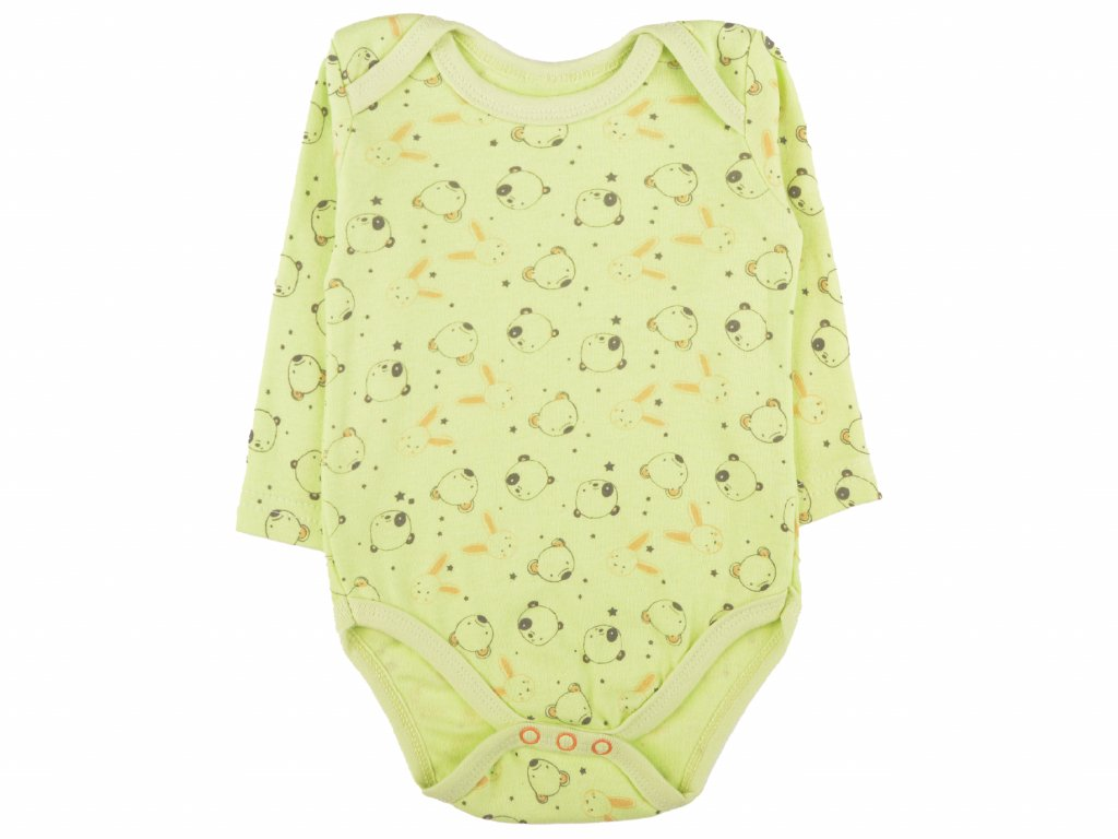 Bavlněné kojenecké body, medvídci, zelena