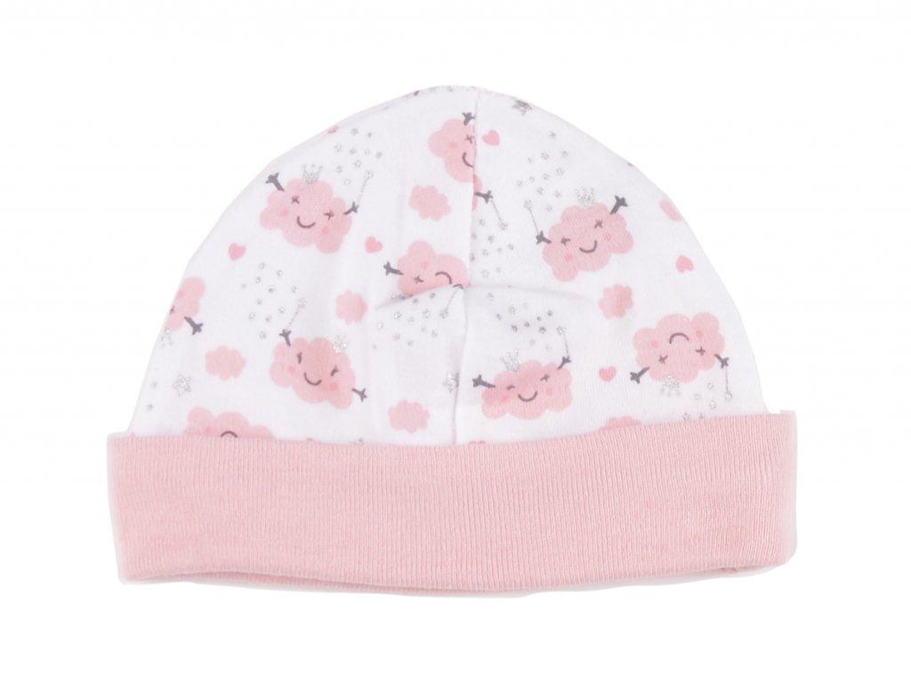 Bavlněné kojenecké čepičky, růžové obláčky