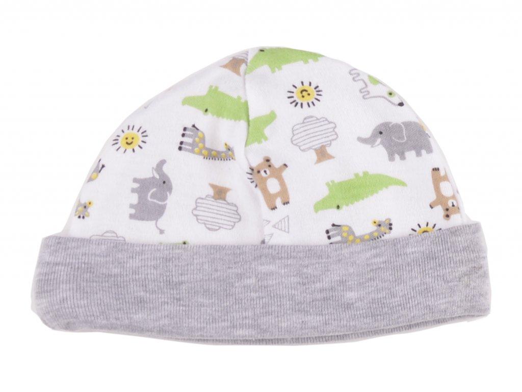 Bavlněné kojenecké čepičky, zvířátka, šedý lem
