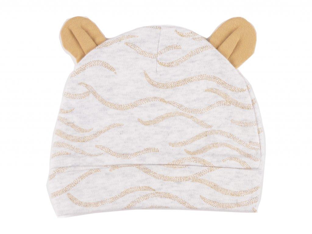 Bavlněné kojenecké čepičky, medvídek, ouska