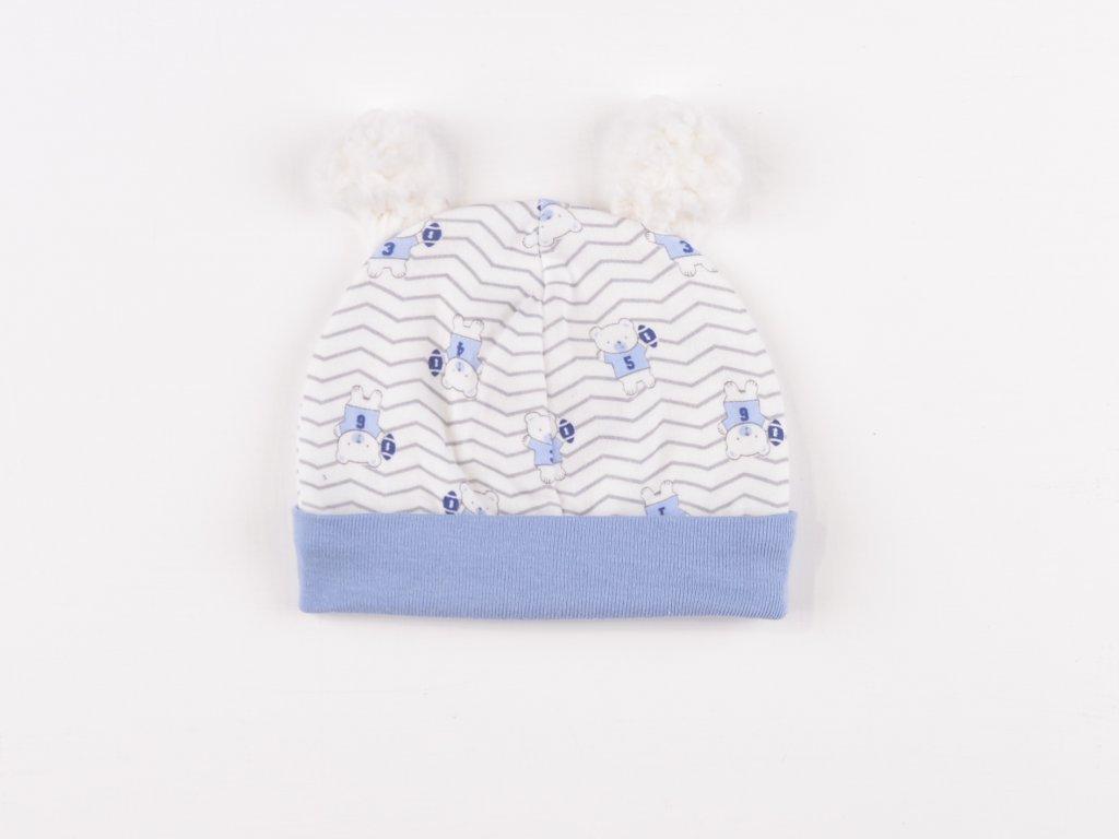 Bavlněné kojenecké čepičky, medvídek, bambulka