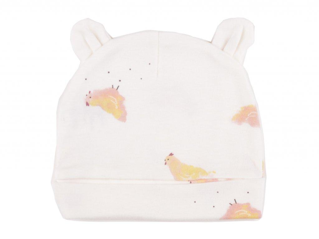 Bavlněné kojenecké čepičky, kuřátko