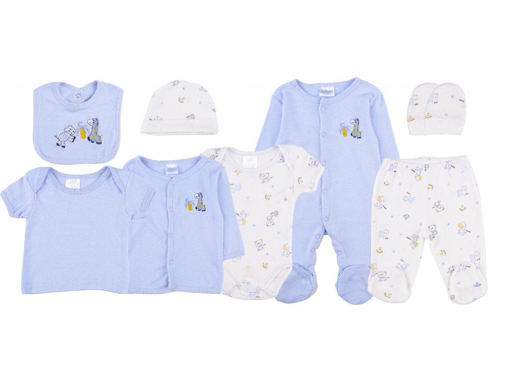 Bavlněný kojenecký set, 8dílný, modrá, celý set