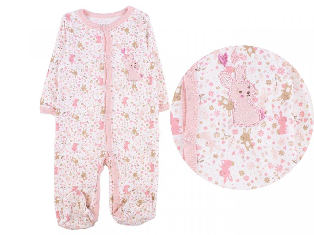 Bavlněný kojenecký overal, růžový zajíček