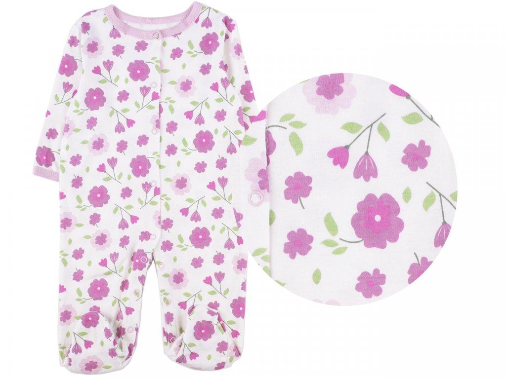 Bavlněný kojenecký overal, fialové kytičky