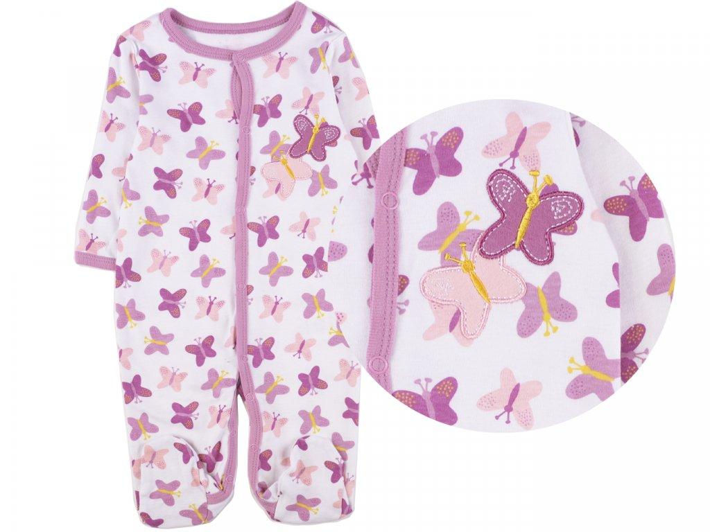 Bavlněný kojenecký overal, fialové motýli