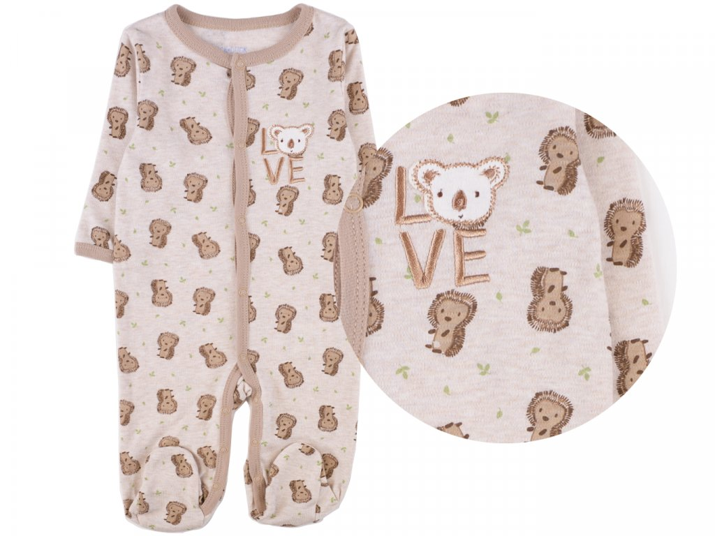 Bavlněný kojenecký overal, hnědý medvídek