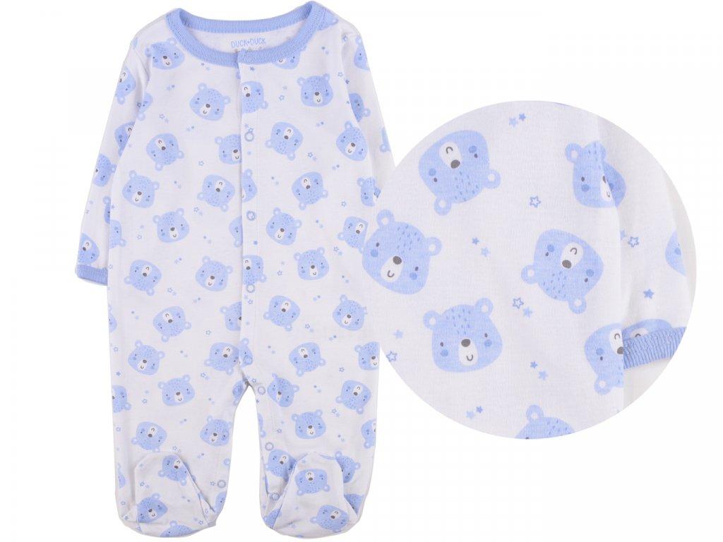 Bavlněný kojenecký overal, modrý meda
