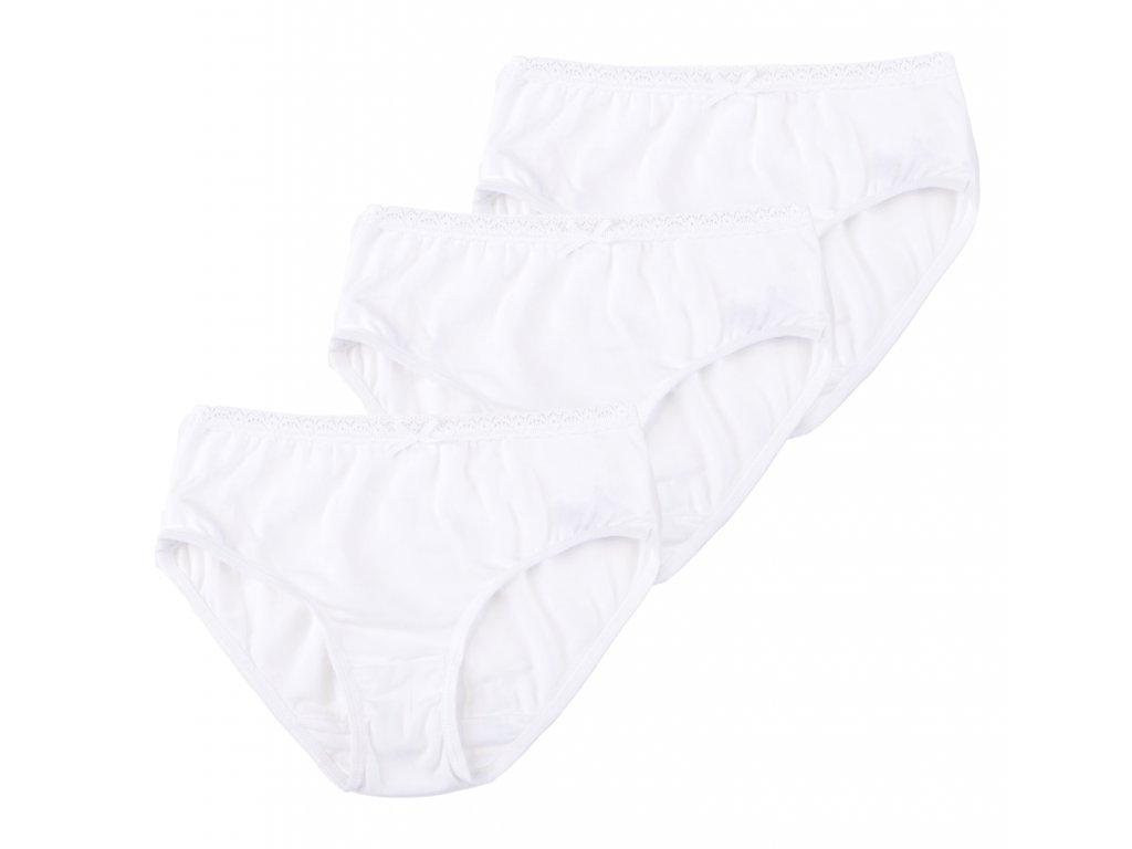 Bílé balvněné dívčí kalhotky, 3 ks, krajkované, Amelia