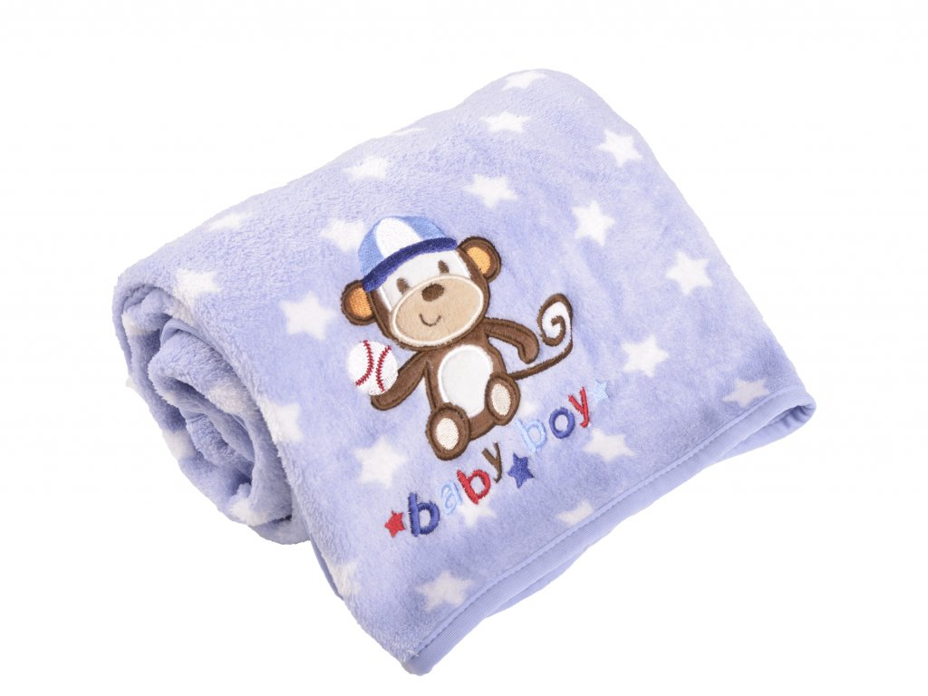 Kojenecká deka, modrá, opička