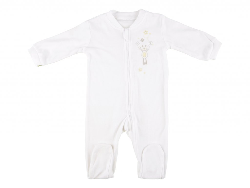 Bavlněný kojenecký overal, bílý, na zip, Corey