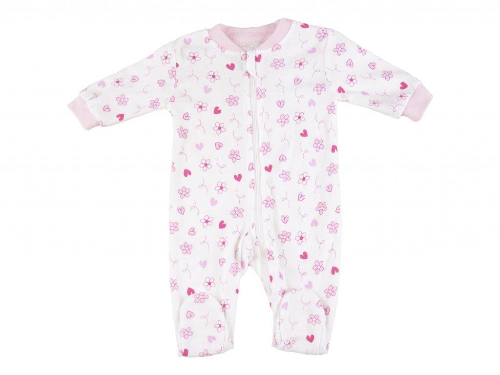 Bavlněný kojenecký overak, na zip, Flora