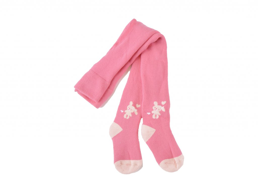 kojenecké dívčí punčocháče, růžové, s pejskem