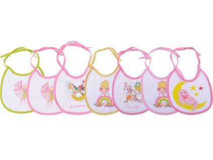 Bavlněné kojenecké bryndáčky, 18 x 18 cm, sada 7 ks, zavazovací, Denise