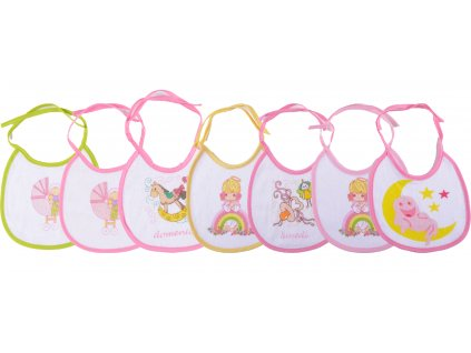 Bavlněné kojenecké bryndáčky, sada 7 ks, zavazovací, Denise