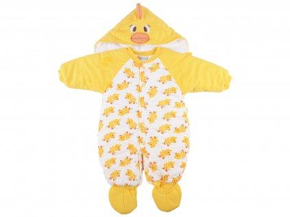 Zateplený kojenecká kombinéza, mini kachničky, zateplená
