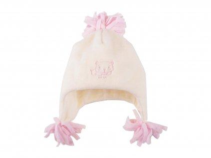 Fleecová kojenecký čepice, dívčí, růžová a béžová