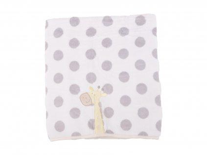 Plyšová kojenecká deka, puntíky s žirafkou