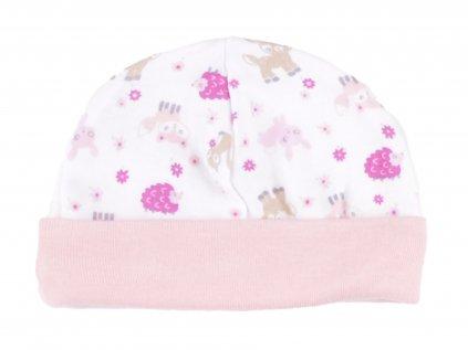 Bavlněné kojenecké čepičky. zvířátka, růžový lem