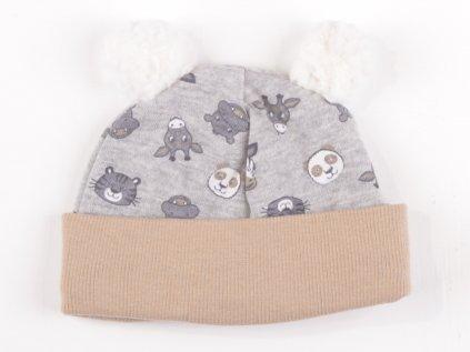 Bavlněné kojenecké čepičky, šedý s hnědým lemem, bambulka