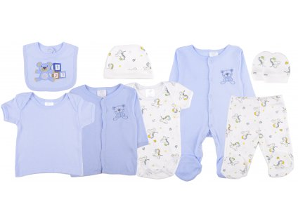 Bavlněný kojenecký set, 8 dílný, modrý, set