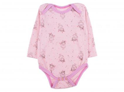 Bavlněné kojenecké body, růžová, víla