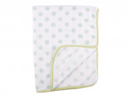 Plyšové deky, zelena, puntiky