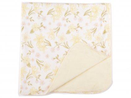 Plyšová deka, 30x30cm, žluté kytičky
