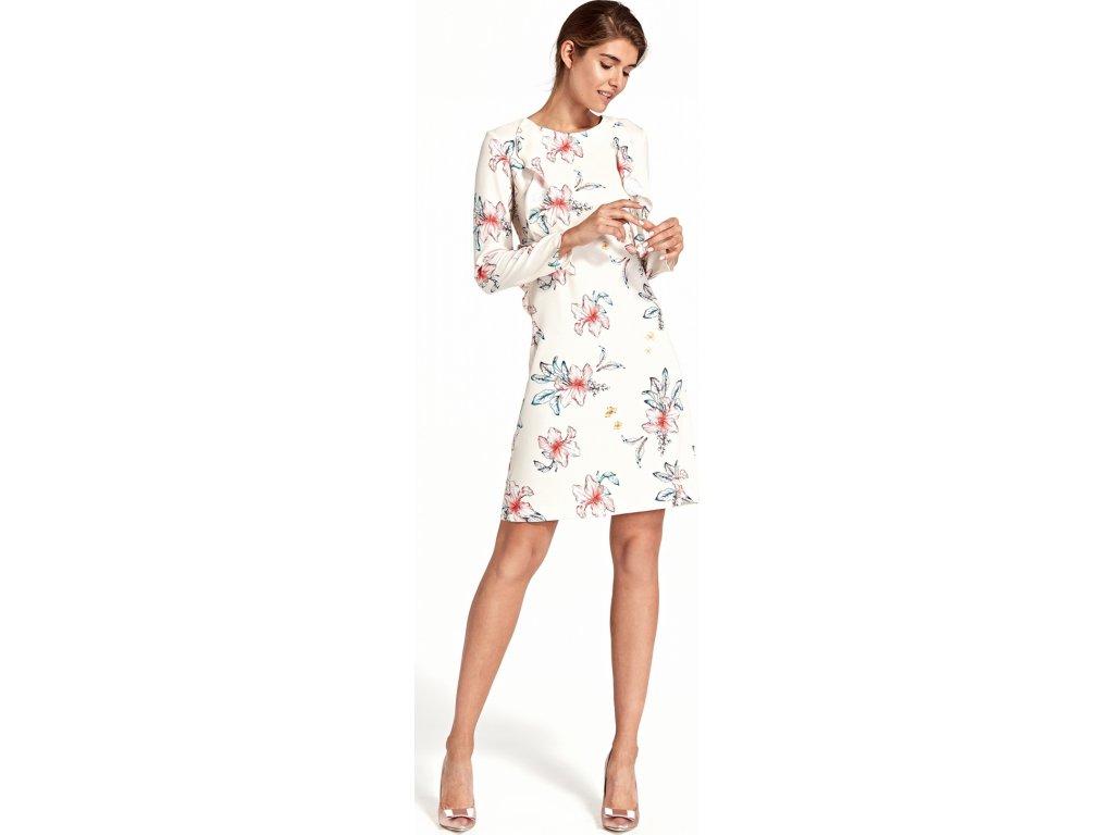 Nife pouzdrové květované šaty s volánky MM-123858 béžová