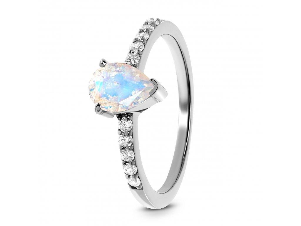 Emporial stříbrný Měsíční prsten Decentní kapka s drahokamy bílými topazy