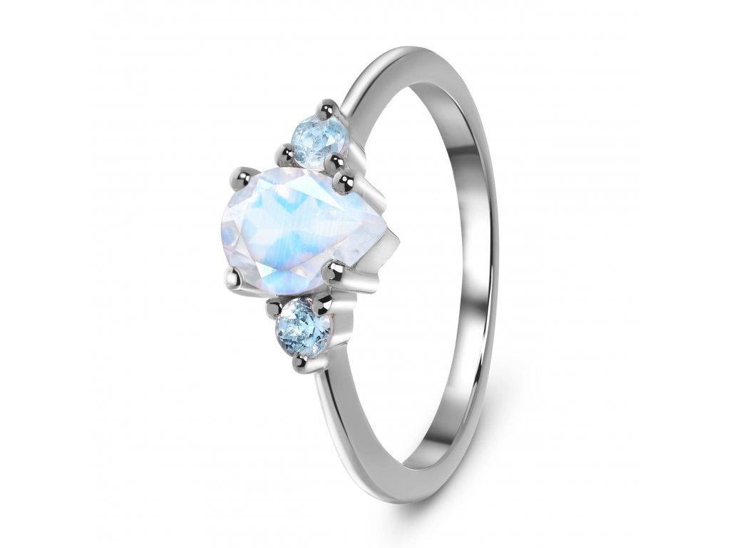 Emporial stříbrný Měsíční prsten decentní kapka s drahokamy modrými topazy