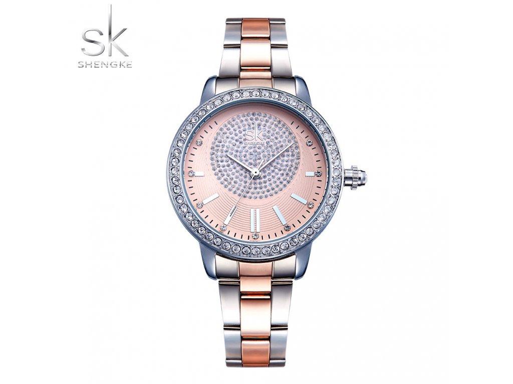 SK Shengke hodinky Luxury Rose Gold K0075 L01 SILVER - ROYAL FASHION 30e8fdc9f4