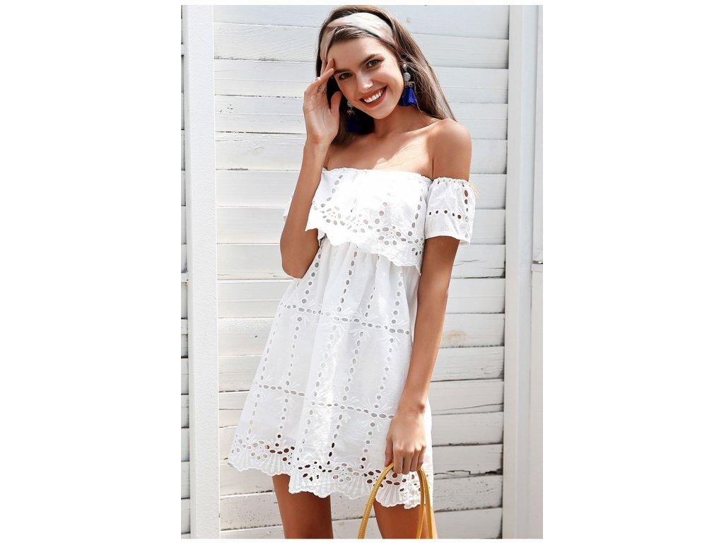 Simplee krajkové bílé šaty krátké s odhalenými rameny ... 2c21d8e304