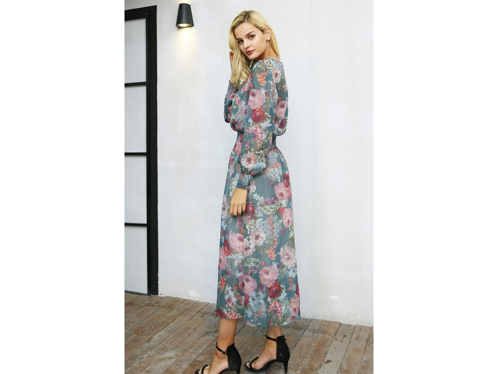 Simplee květované midi zelené šaty s dlouhými rukávy DR1019 GREEN ... 07da3c3d2b