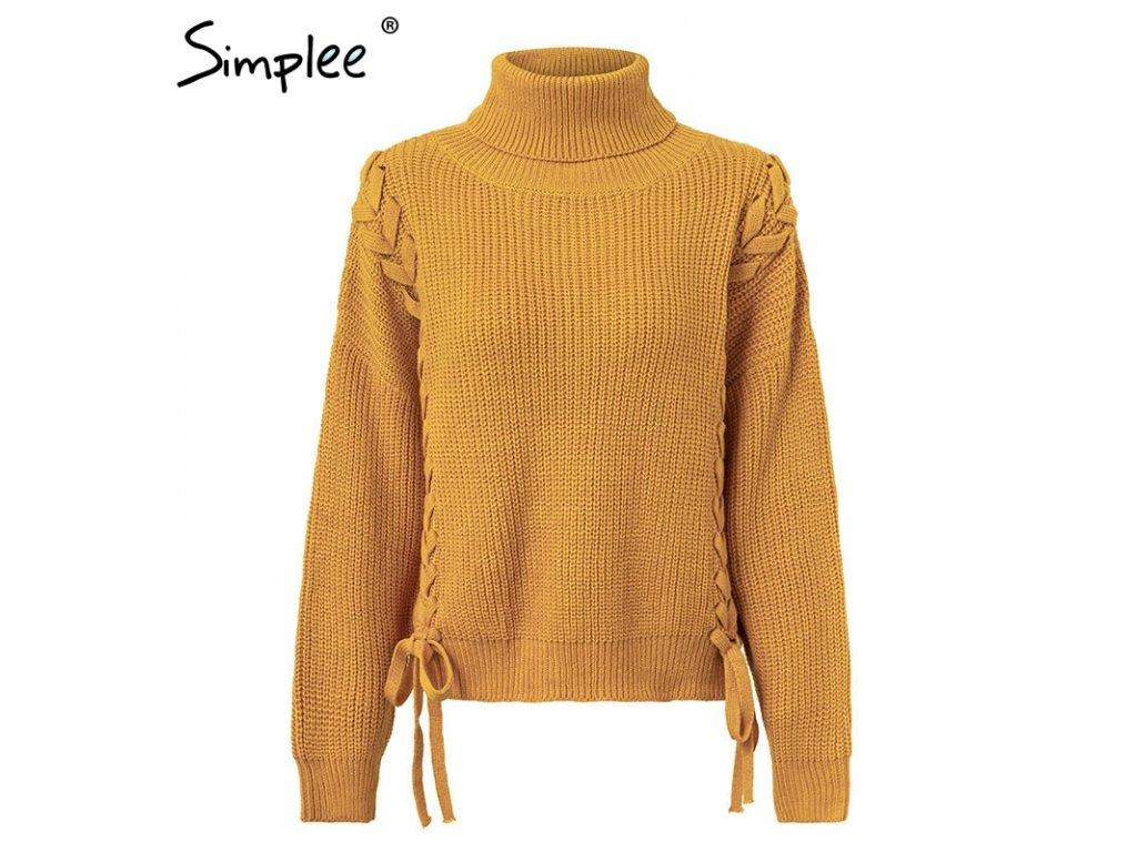 Simplee UNI svetr pulovr propletený s mašlí žlutý S18ST0313 - ROYAL ... cd0ad62c05
