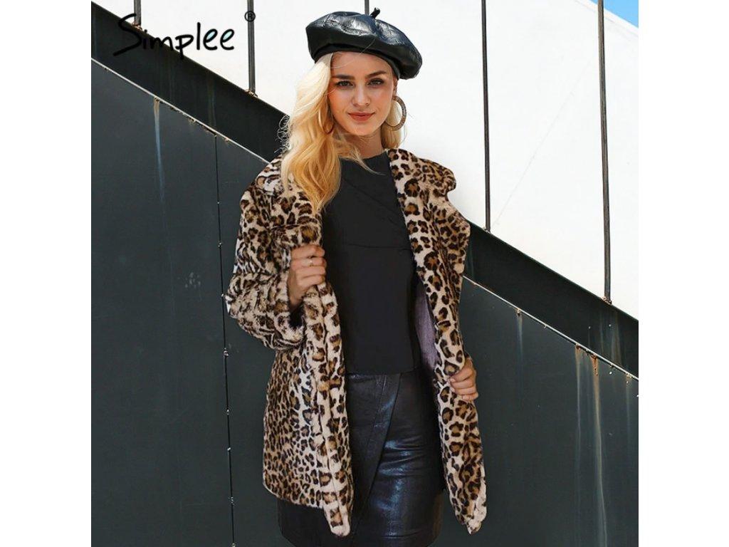 Simplee leopardí kabát kožich imitace kožešiny hnědý S18OW0418