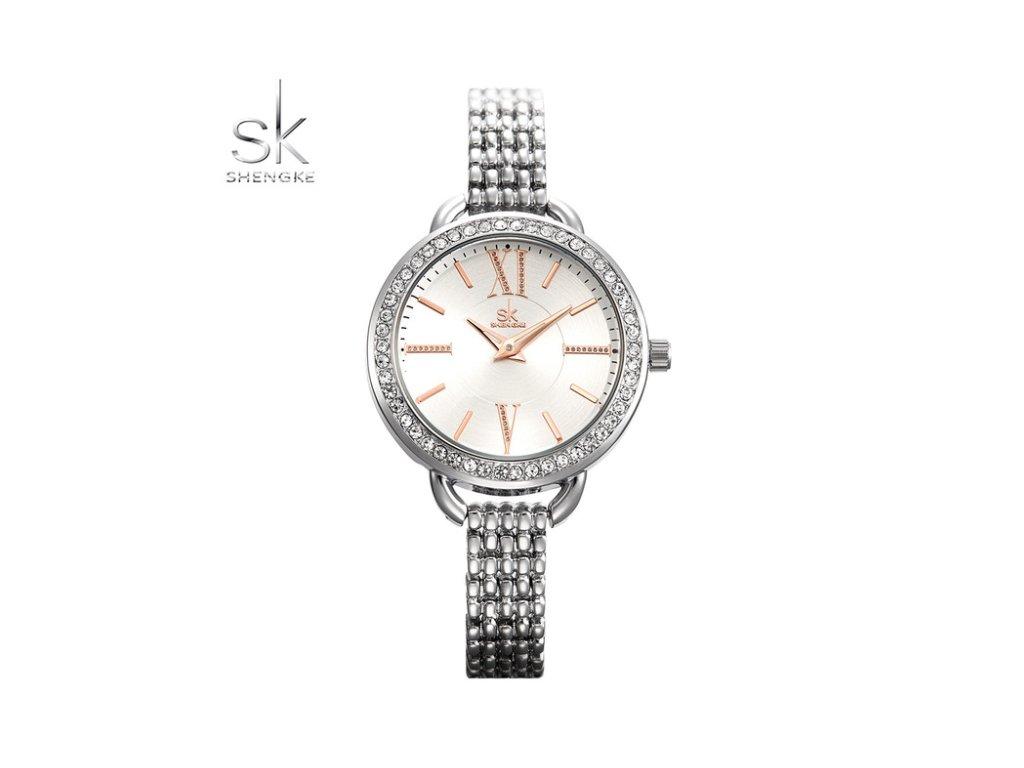 7d0b75c7c SK Shengke hodinky Lusso Silver K0089_SILVER - ROYAL FASHION