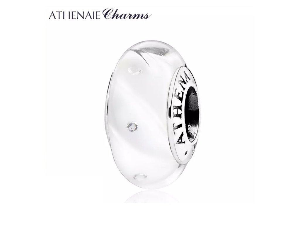 Athenaie přívěsek se zirkony Bílé vlny jiskřivé sklo Murano MNG201