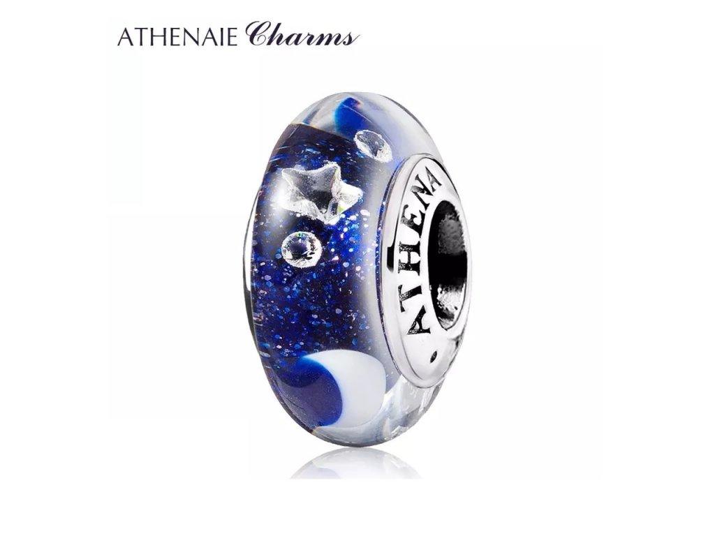 Athenaie přívěsek se zirkony Hvězdná noční obloha jiskřivé sklo Murano MNG203