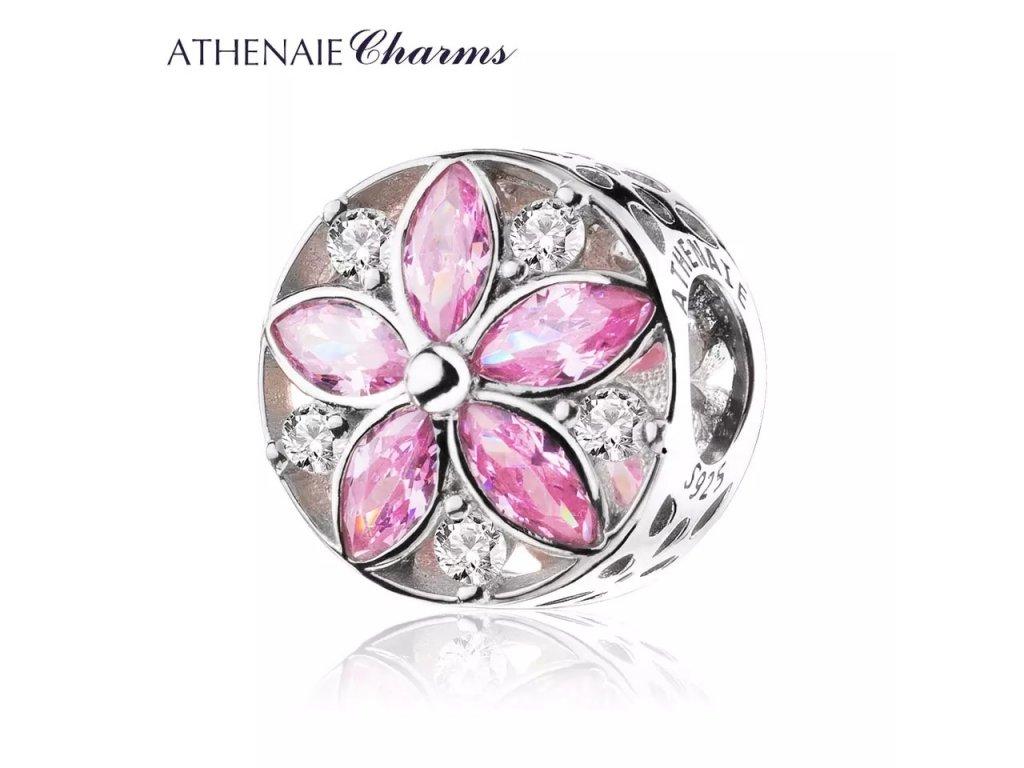 Athenaie přívěsek Křišťálová růžová květina PAV62