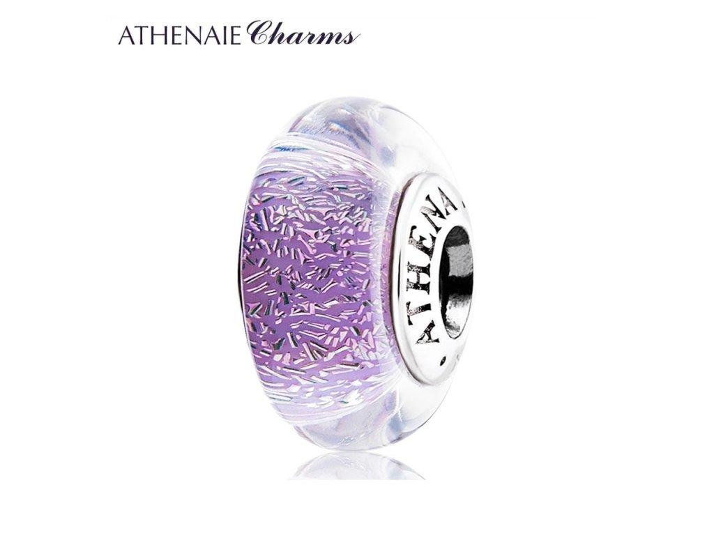 Athenaie přívěsek Fialové jiskřivé sklo Murano MNG136