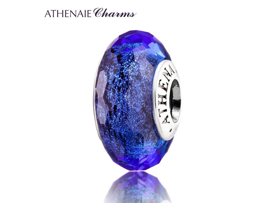 Athenaie přívěsek Modré jiskřivé broušené sklo Murano MNG134