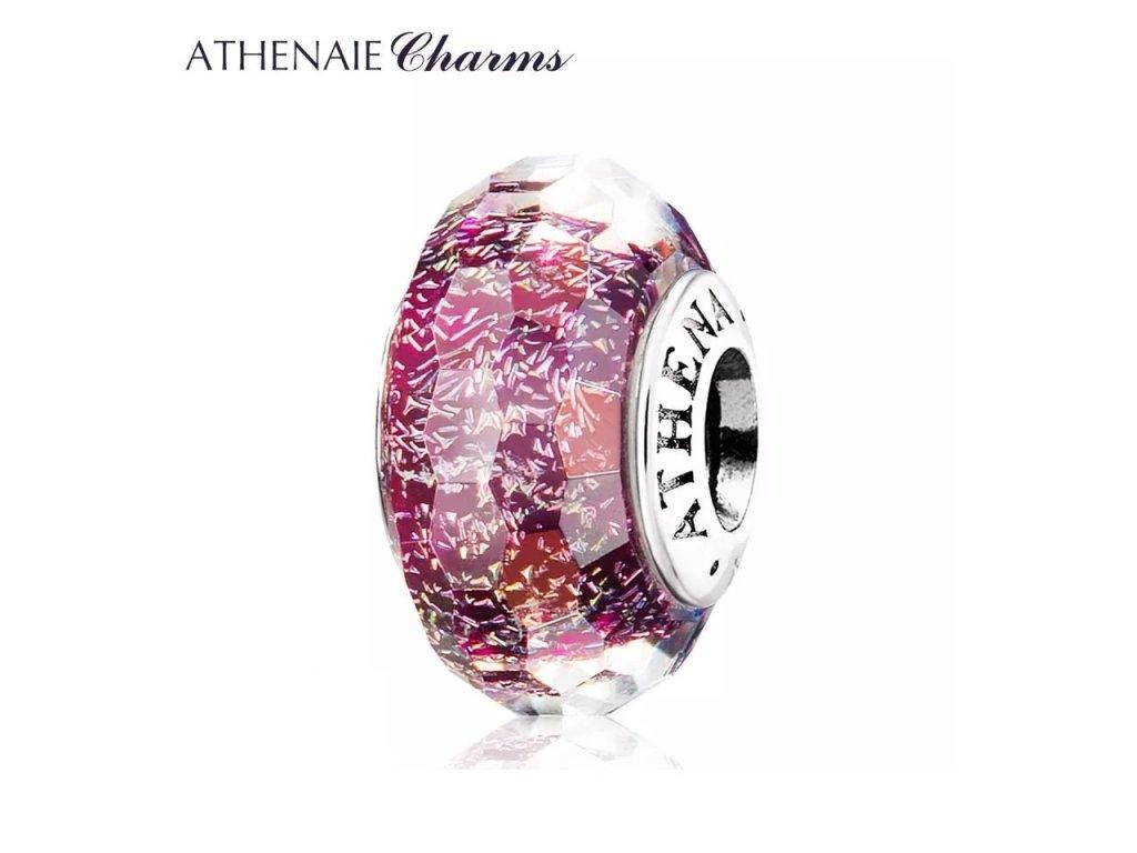 Athenaie přívěsek Fialové jiskřivé broušené sklo Murano MNG144