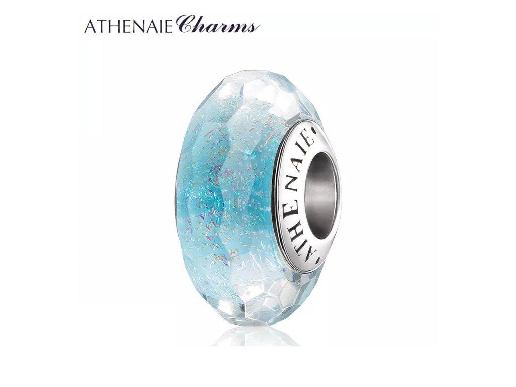 Athenaie přívěsek Modré průzračné broušené sklo Murano MNG165
