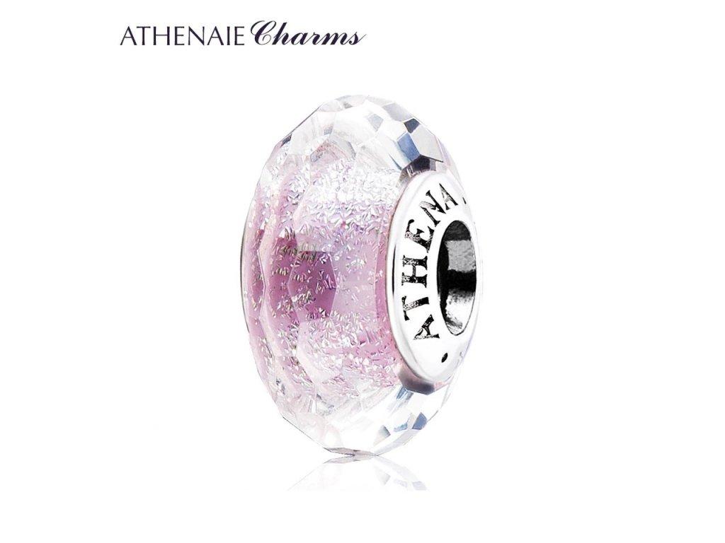 Athenaie přívěsek Fialové jiskřivé broušené sklo Murano MNG142