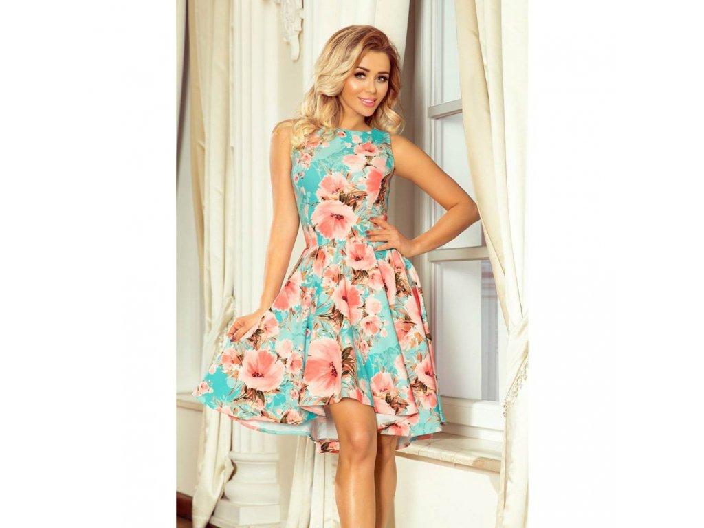 7f88d86d52ae Numoco dámské šaty s květy 251-1 tyrkysové - ROYAL FASHION