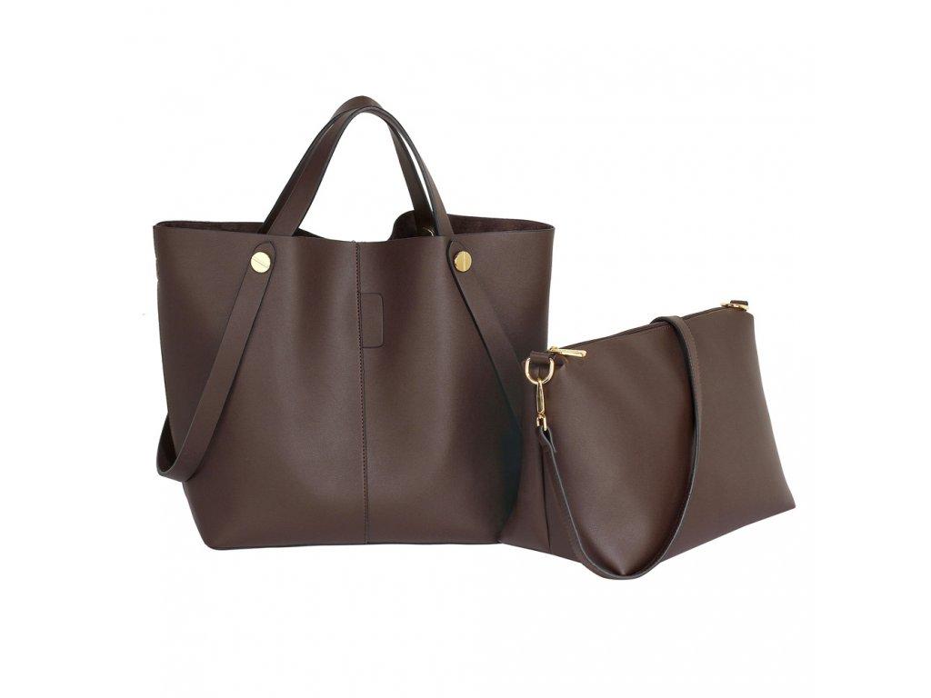 Luxusní set tmavě hnědá kávová kabelka do ruky crossbody