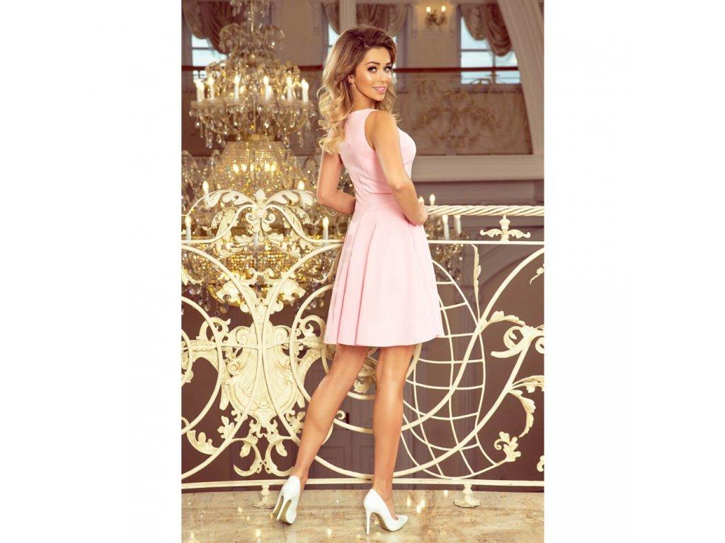 0c9490a68925 Numoco dámské koktejlové šaty 014-10 pastelově růžové - ROYAL FASHION