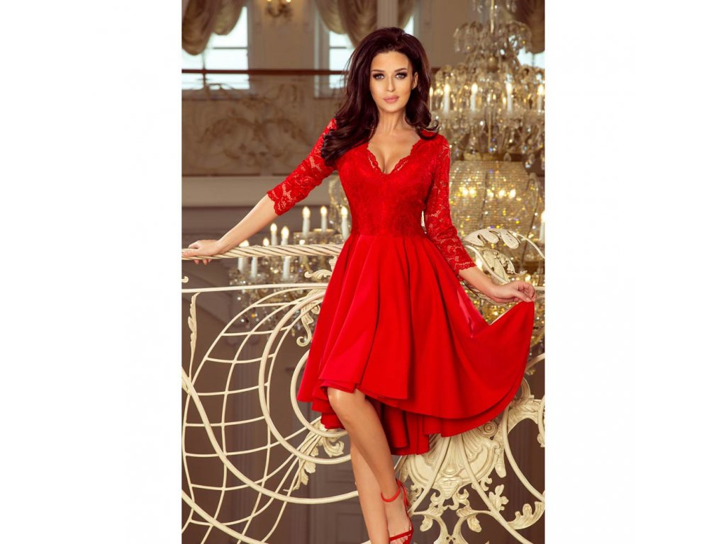 5ea0f722c06a Numoco dámské šaty s krajkou 210-6 červené - ROYAL FASHION