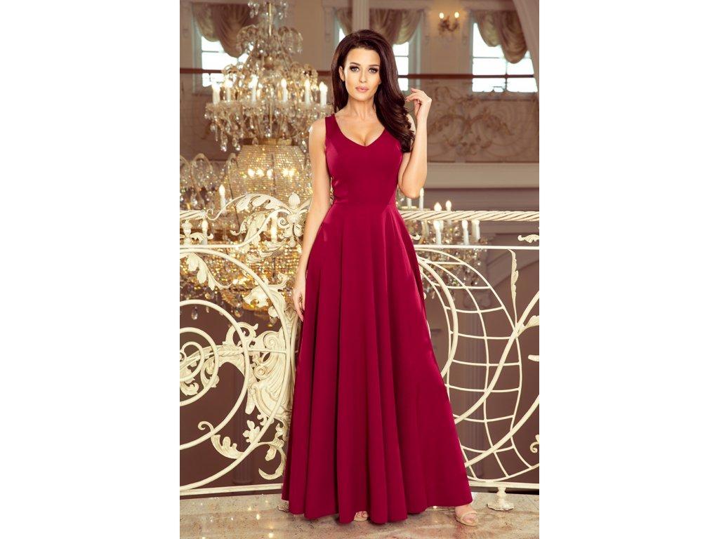 85d894ecc558 Numoco dámské dlouhé šaty s výstřihem 131669 bordové - ROYAL FASHION